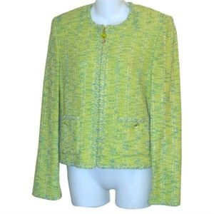 ST JOHN COLLECTION Lime Green & Blue Boucle Jacket